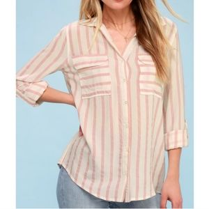 Lulu's pink and white stripe button down shirt